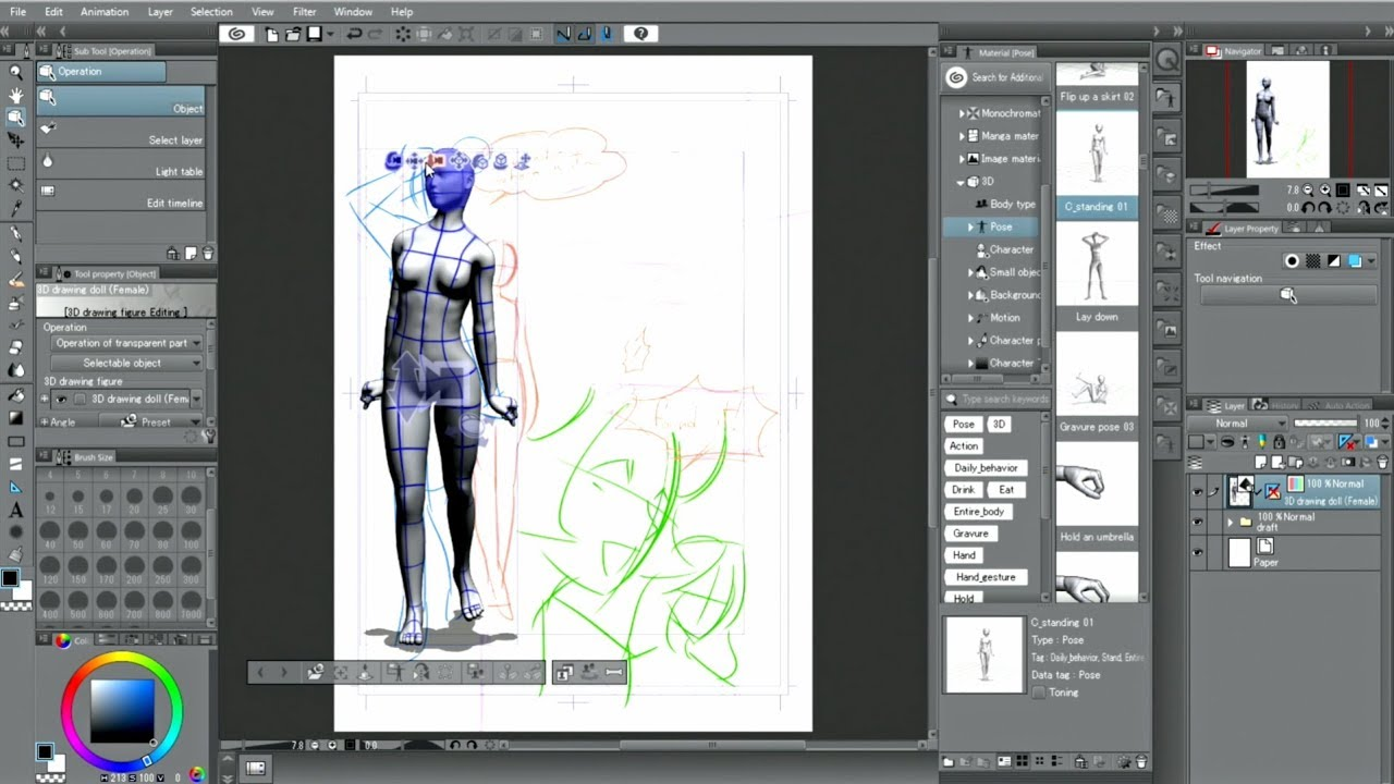 CLIP STUDIO PAINT useful features : 3D drawing figures.