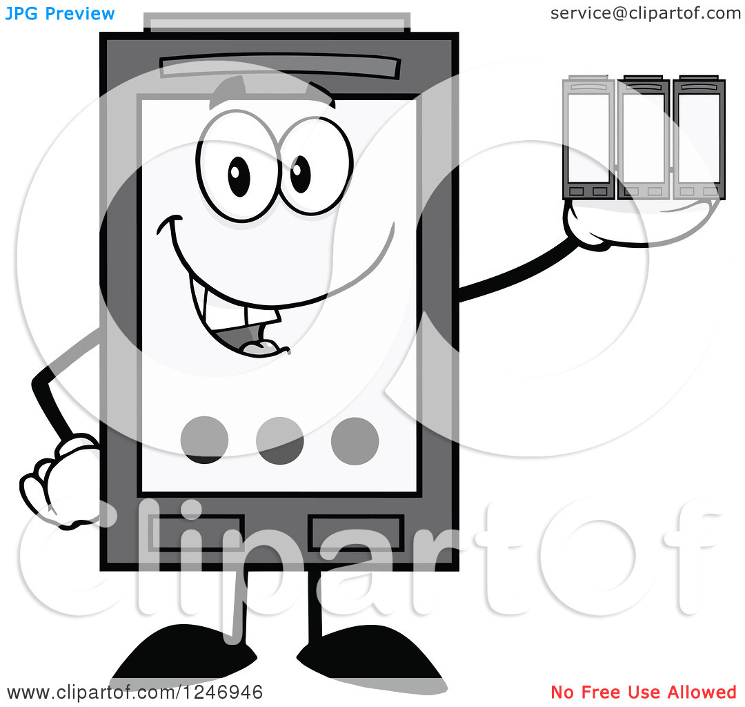 Clipart of a Grayscale Ink Cartridge Character Mascot Holding.