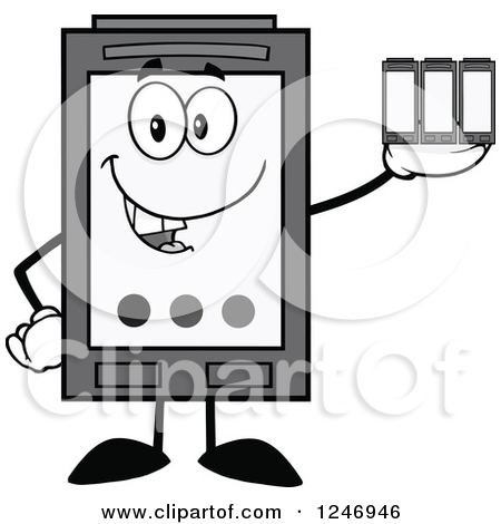 Clipart of a Color Ink Cartridge Character Mascot Holding Toner.
