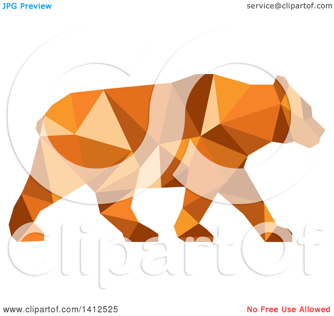 Clipart of a Low Polygon Style American Black Bear in Orange Tones.