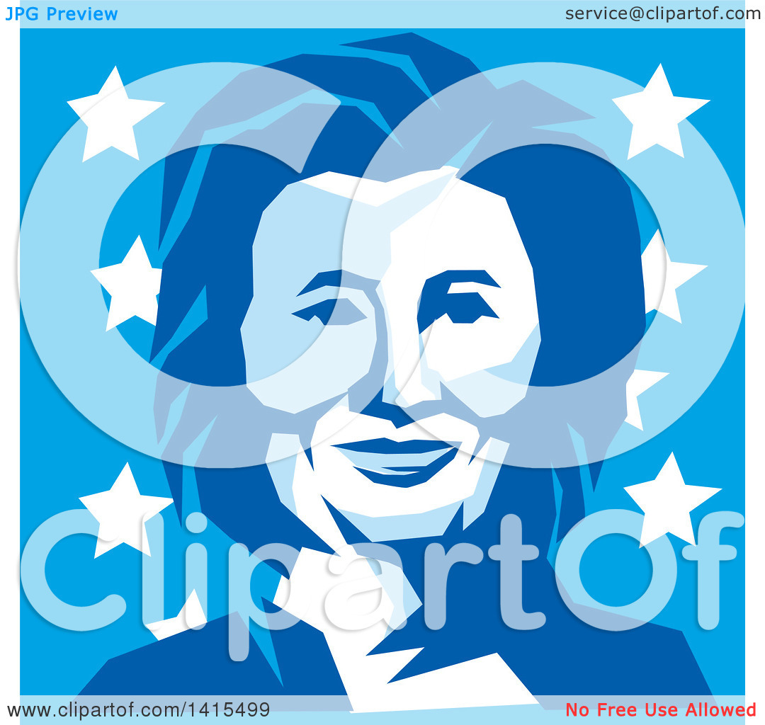 Clipart of a Retro Portrait of Hillary Clinton in Blue Tones, over.