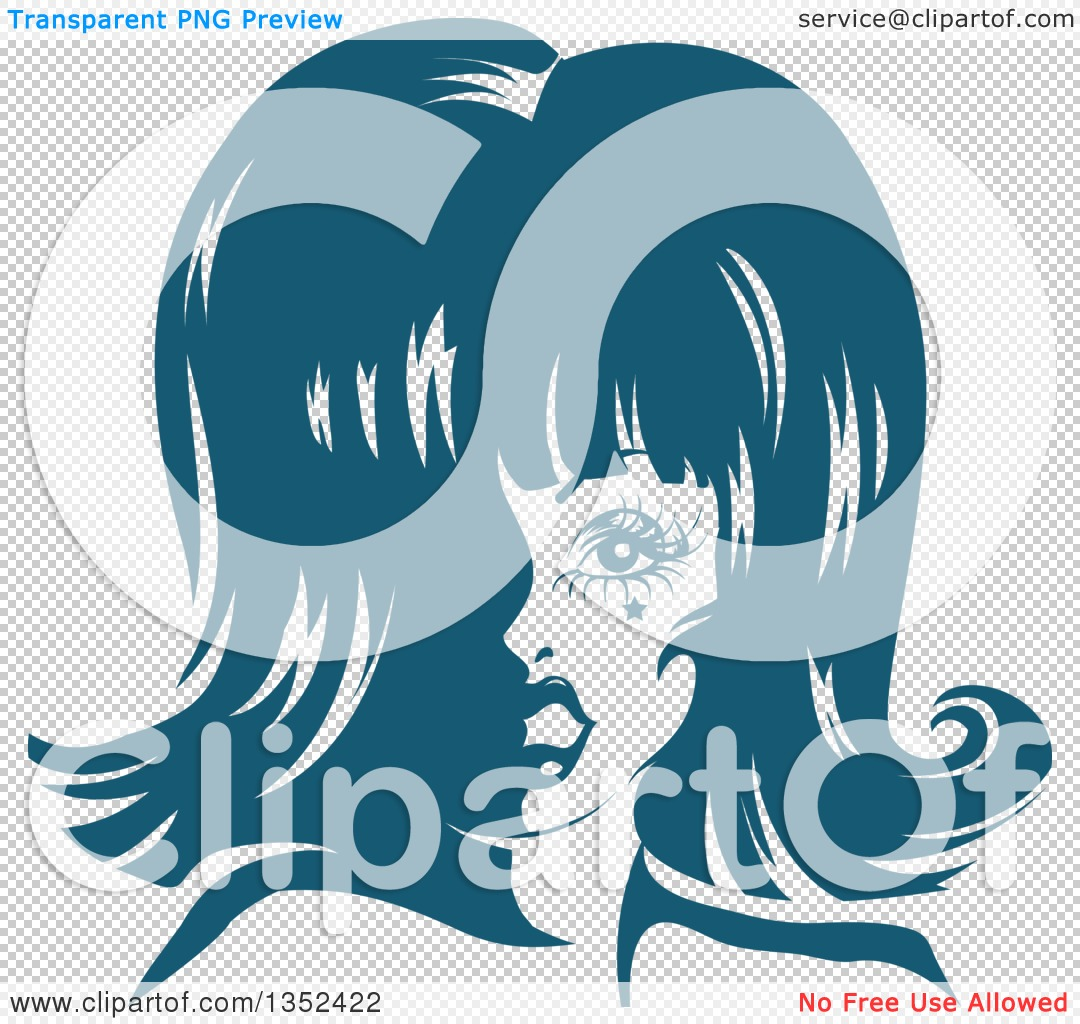 Clipart of a Drag Queen Striking a Pose, in Blue Tones.
