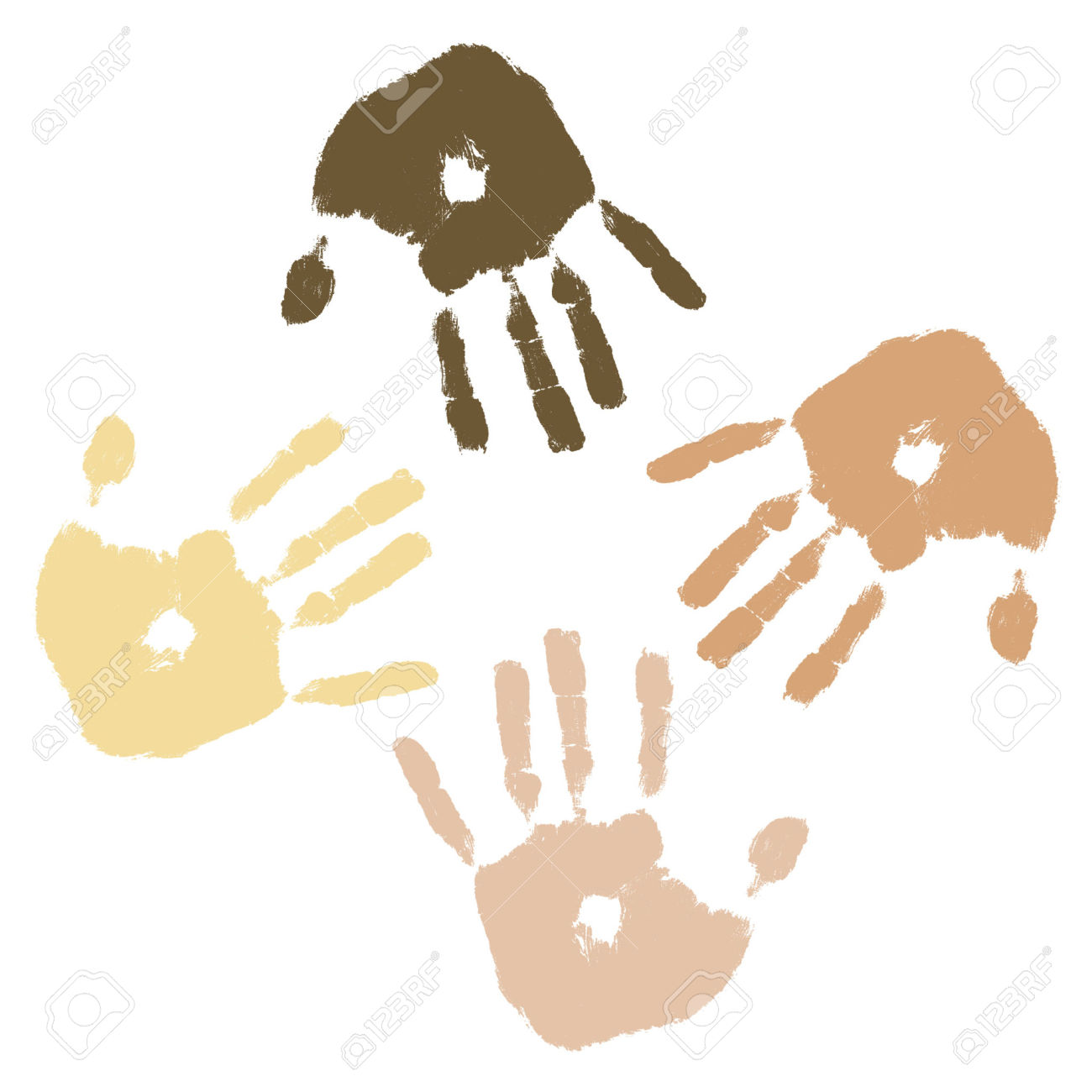 Different color skin tones clipart.