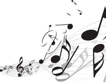 Picture of Abstract Music Notes On a Staff In a Vector Clip Art.