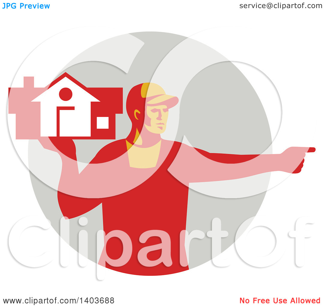 Clipart of a Retro Male House Remover or Mover Holding a Home and.