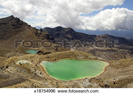 Stock Images of Emerald Lakes on Tongariro Alpine Crossing.