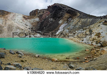 Stock Photography of Emerald Lakes, Tongariro National Park, New.