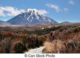 Stock Image of Mount Ngauruhoe in Tongariro National Park.
