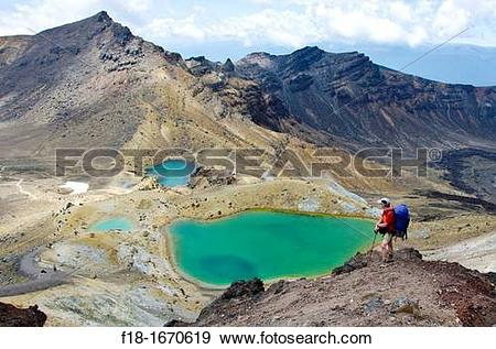 Stock Photograph of Hiker above Emerald Lakes, Tongariro National.