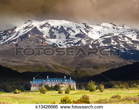 Stock Images of Whakapapa Village in Tongariro NP New Zealand.
