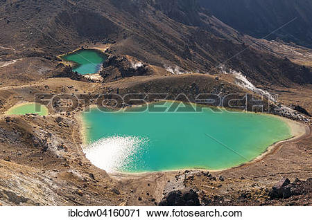 Stock Photography of Emerald Lakes at the Tongariro Crossing in.