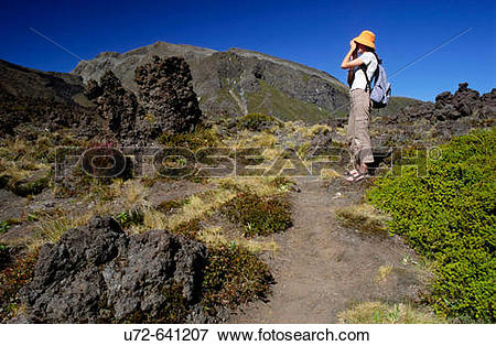 Picture of Tongariro Crossing and Tourist, Tongariro National Park.