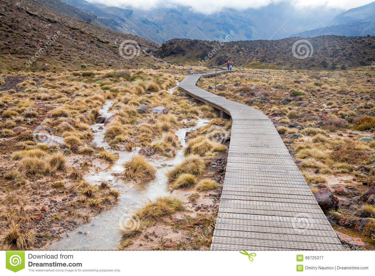 Wooden Boardwalk At Tongariro National Park In New Zealand Stock.