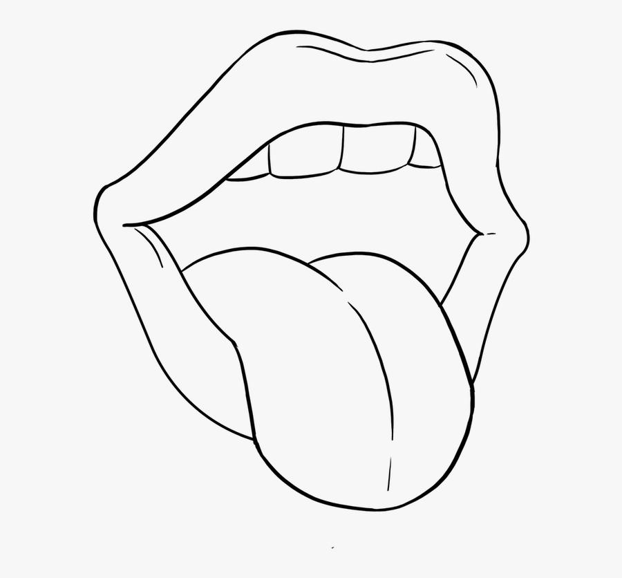 Transparent Mouth And Tongue Clipart Black And White.