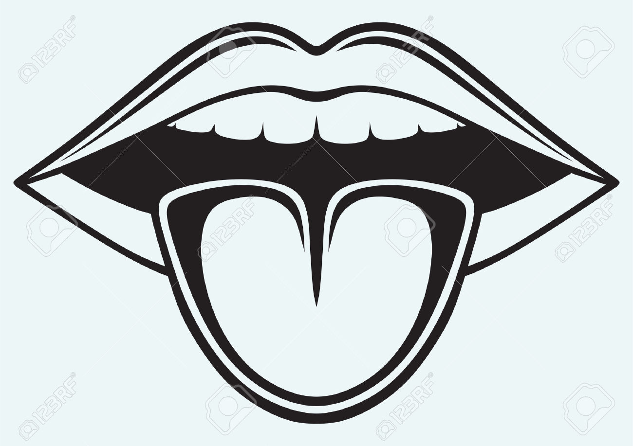 Mouth and tongue clipart black and white.