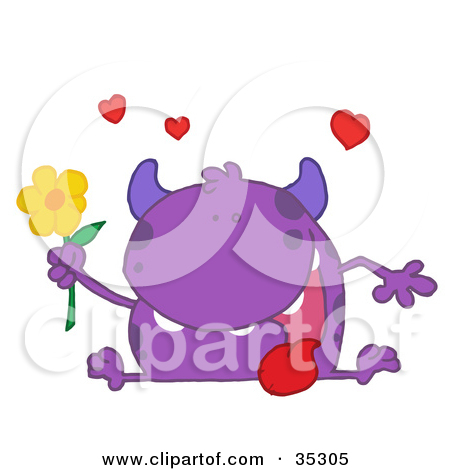 Clipart Illustration of a Loving Purple Monster Sitting With His.