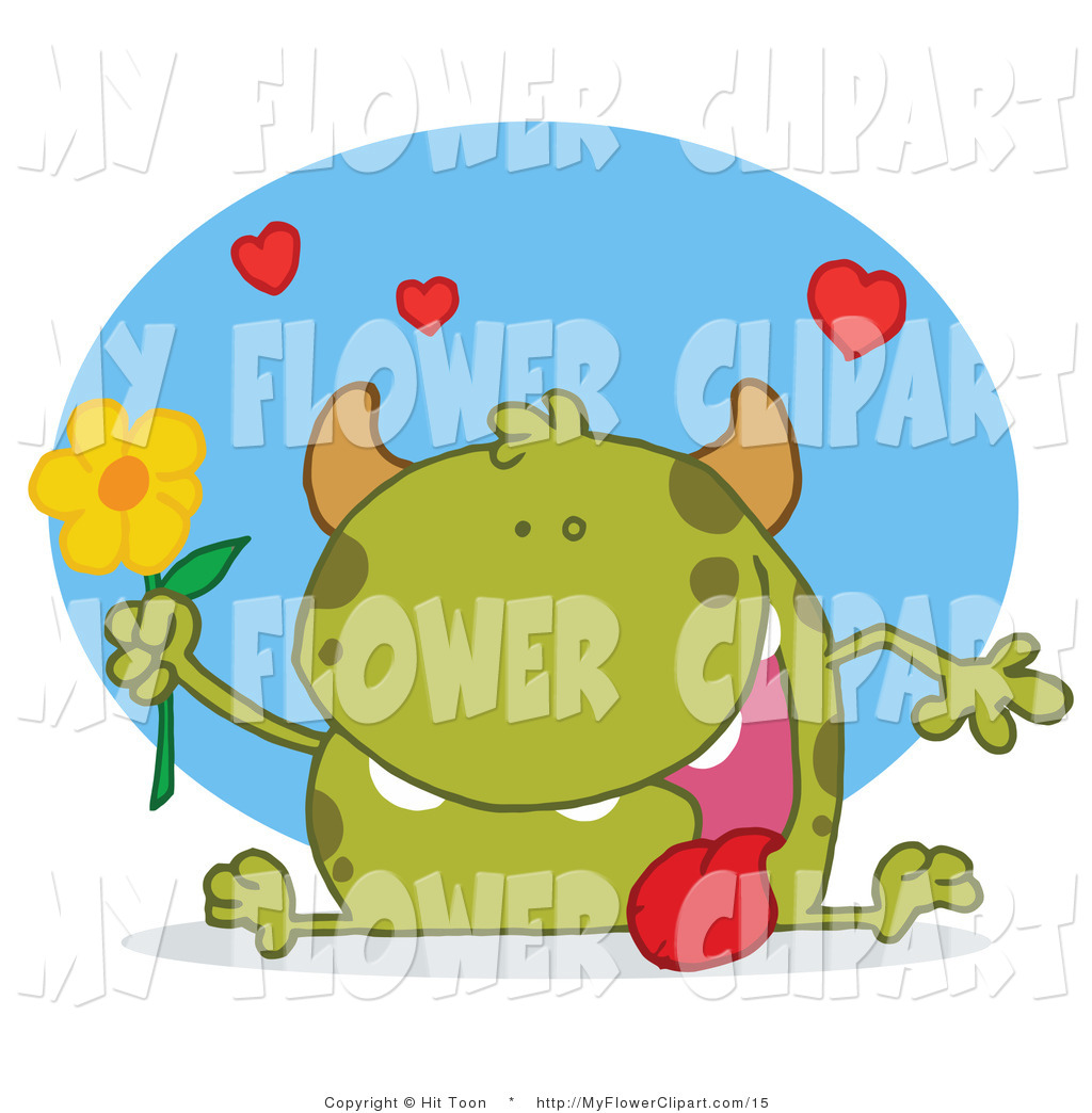 Vector Clip Art of a Cute Green Monster Sitting with His Tongue.