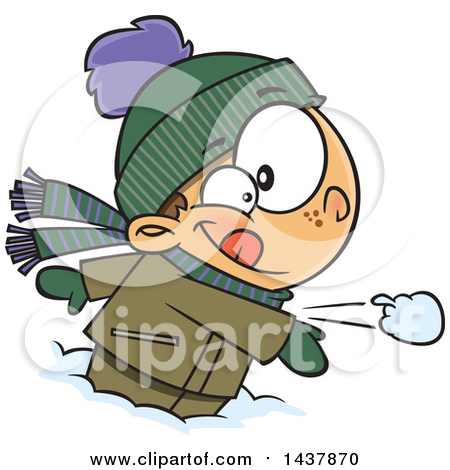 Clipart of a Cartoon Boy with His Tongue Stuck Frozen to a Pole.