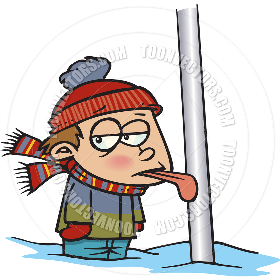 Cartoon Tongue Frozen to Flagpole by Ron Leishman.
