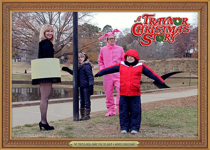 Christmas Story Christmas Card, Leg Lamp, Bunny Suit, Tongue.