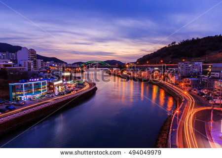 Tongyeong Canal Bridge Night South Korea Stock Photo 282483422.