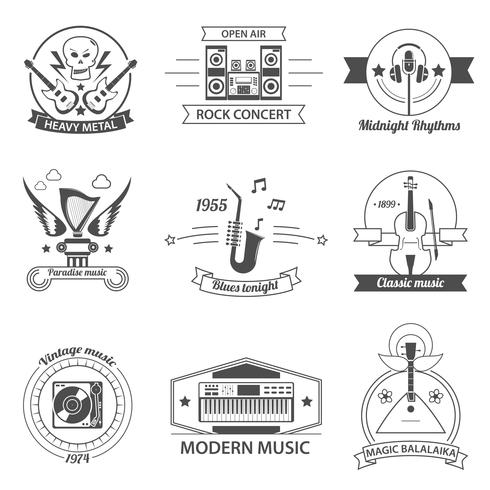 Black And White Music Styles Labels.