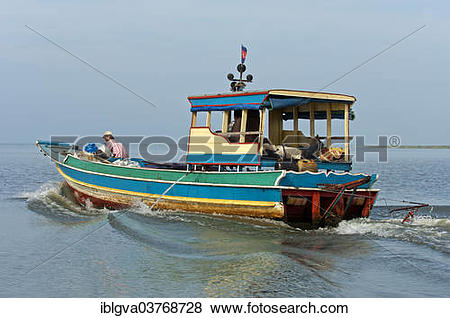 """Pictures of """"Fishing boat on the Tonle Sap lake, Cambodia, Asia."""