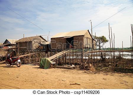 Stock Photography of Cambodian house of poor family at Tonle Sap.