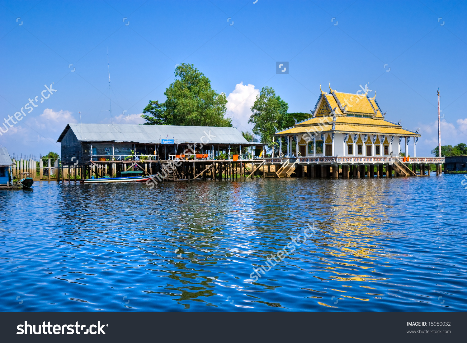 Floating House Temple On Tonle Sap Stock Photo 15950032.