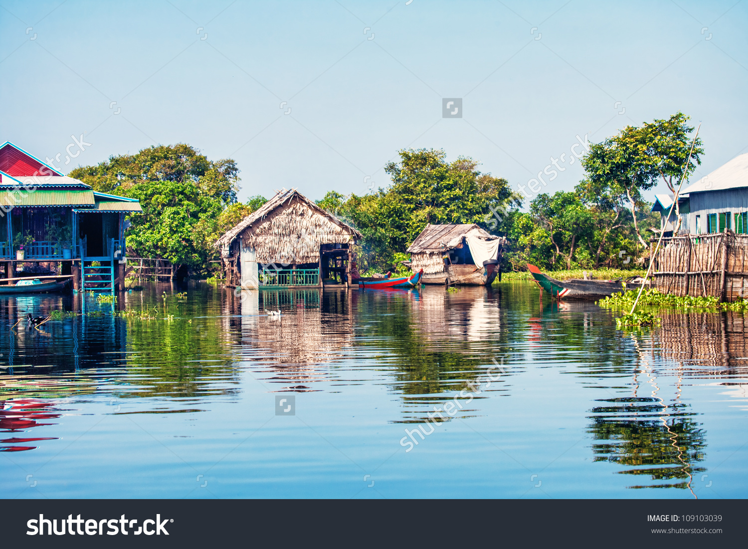 The Village On The Water. Tonle Sap Lake. Cambodia Stock Photo.