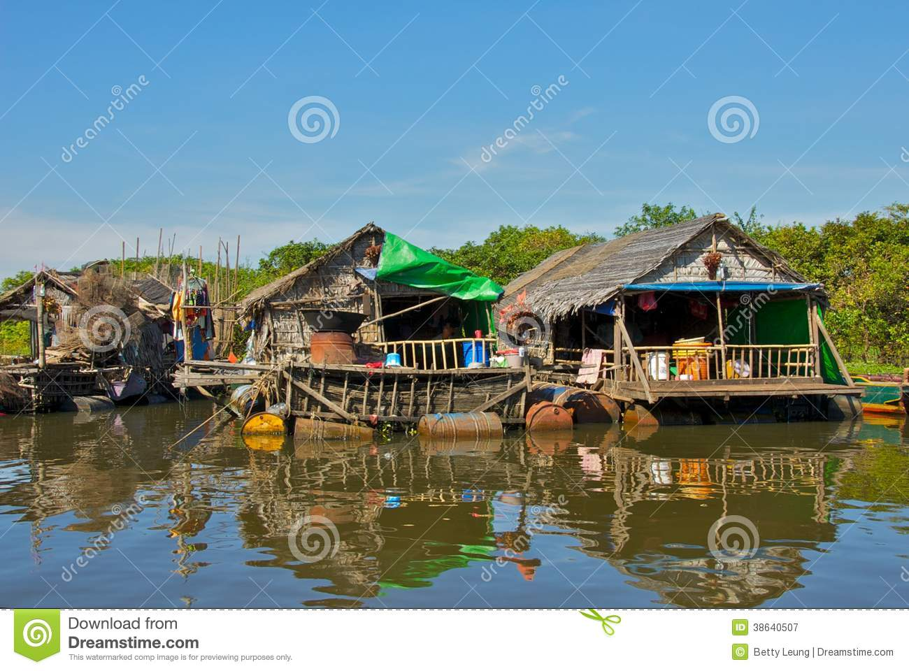 Life On Tonle Sap Lake In Cambodia Royalty Free Stock Photography.