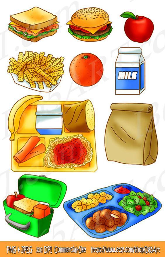 School Lunch Clipart Set, Food, Tray, Brown Paper Bag, Sandwich.
