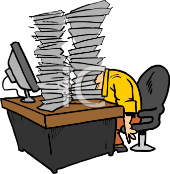 Royalty Free Clipart Image Cartoon Of An Office Worker With Tons.