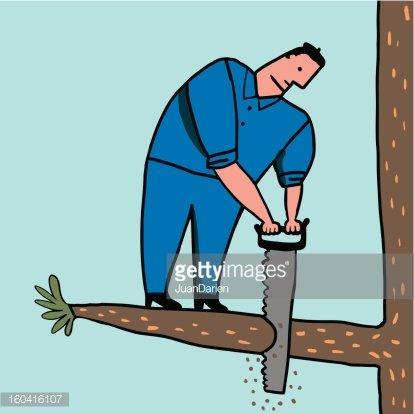 Hombre tonto corta rama Clipart Image.