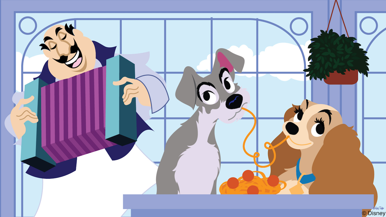 Disney Doodle: Lady & The Tramp at Tony\'s Town Square.