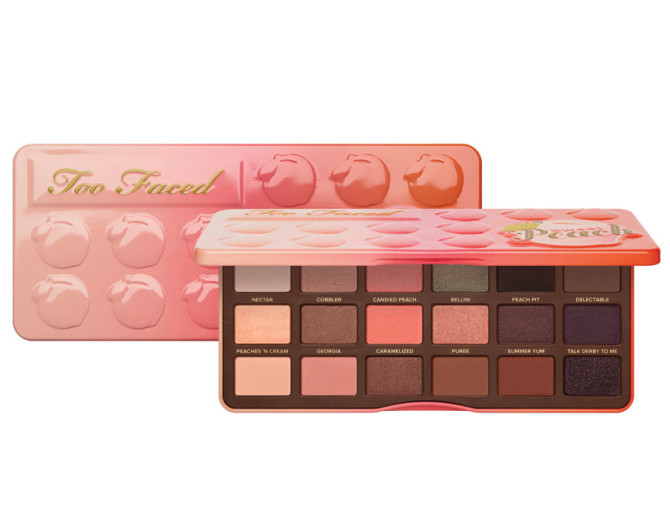 Too Faced Sweet Peach eyeshadow palette info.