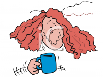 Woman Shaking from Too Much Coffee.