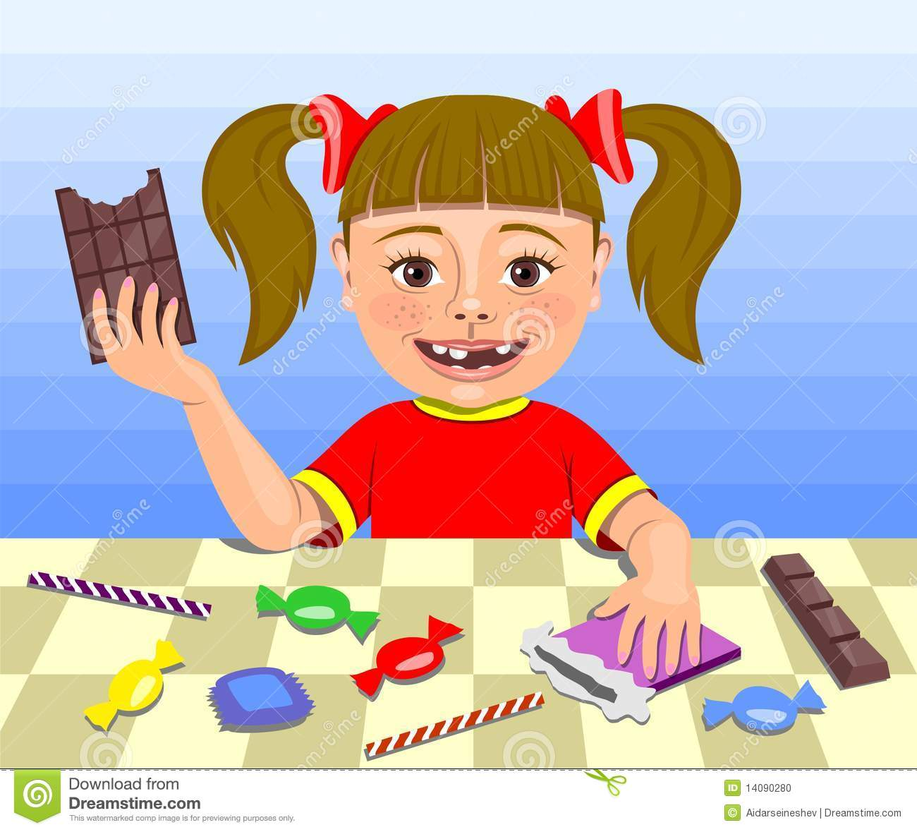 Girl eating candy clipart.