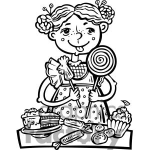 Kid eating candy clipart.