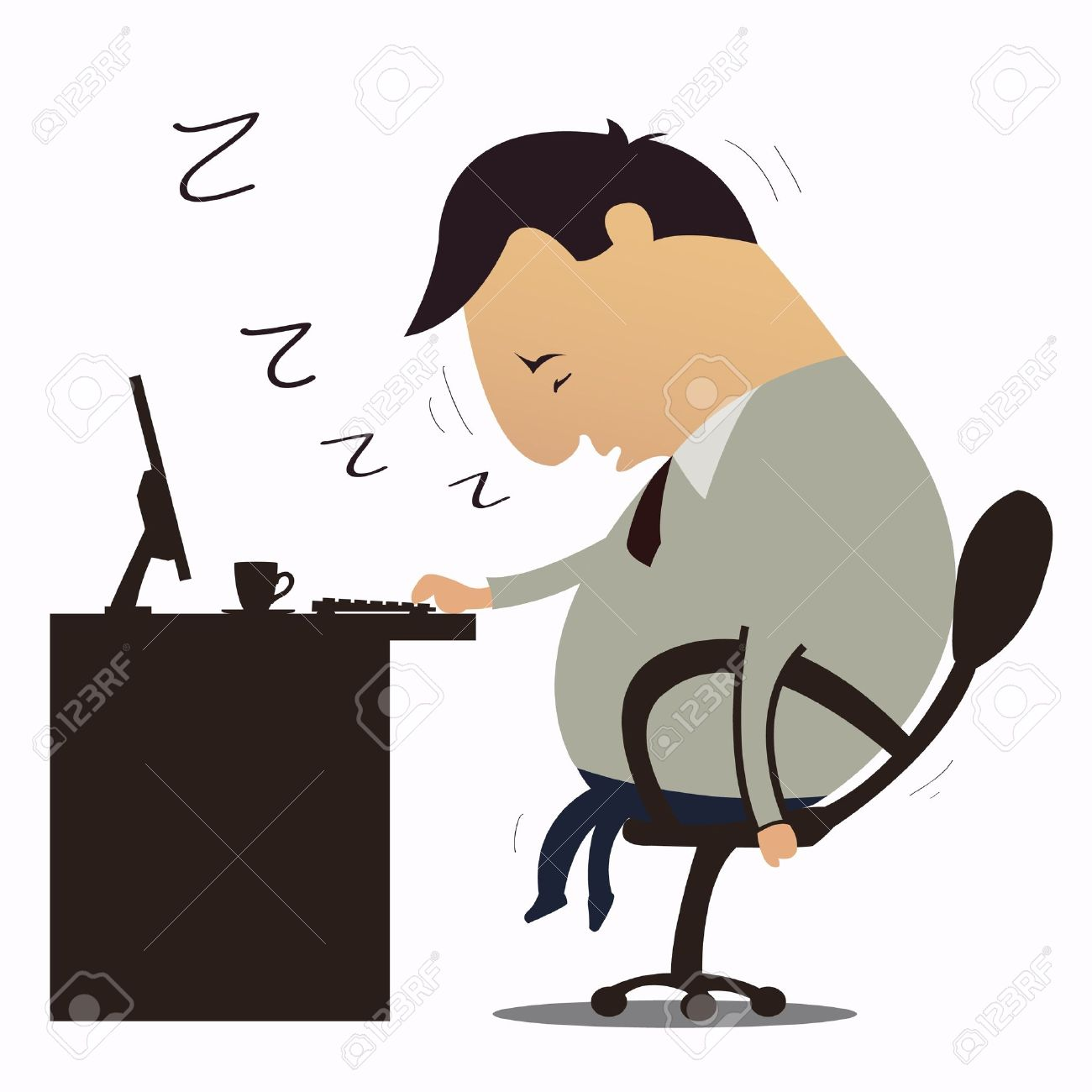 Tired At Work Clipart.