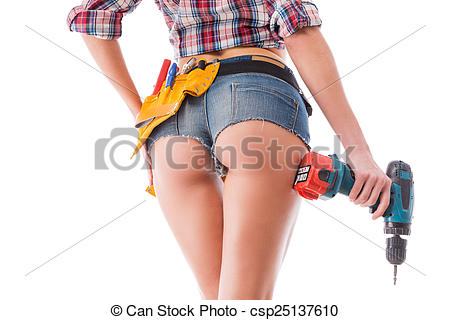 Woman with tool belt clipart.