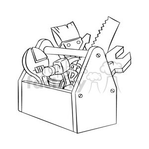 black and white image of tool box herramientas de carpinteria negro  clipart. Royalty.