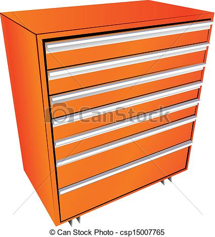 Clip Art Vector of Tool box in the form of a locker with drawers.