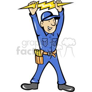 electrician thunderbolt toolman clipart. Royalty.