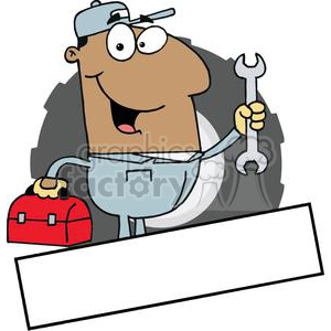 African American Mechanic Man With A Tool Box And Wrench Banner clipart.  Royalty.