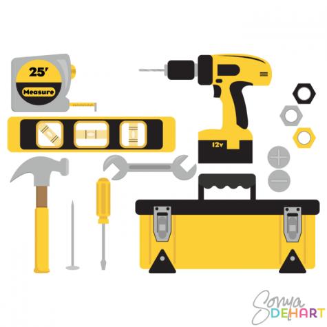Clip Art Yellow Tool Set.