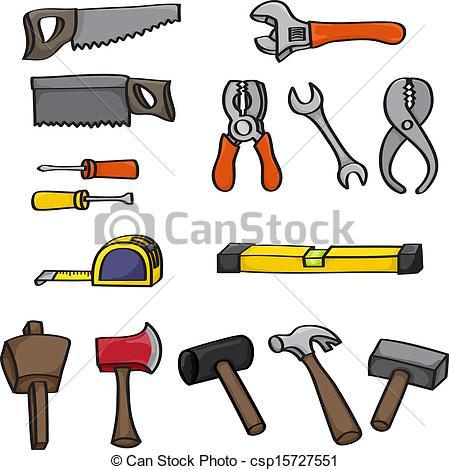 Clipart Vector of Cartoon Building Tools Set.