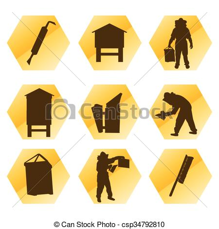 Vector Clip Art of Beekeeping vector background tool set and.