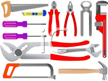 Royalty Free Clipart Image: Common Tools Set.