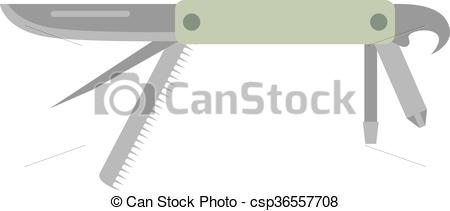 Vector Clipart of Army jack knife multi tool steel blade pocket.
